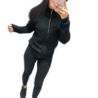 Vestido de dos piezas Taovk otoño e invierno de color sólido de color stand stop sweater de cremallera + pantalones elásticos juegos de traje de punto