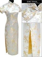 شحن مجاني ضوء السيدات صفراء 'ساتان طويل شيونغسام تشيباو اللباس زهرة زائد الحجم S M L XL XXL XXXL 4XL 5XL 6XL J3088