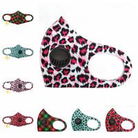 Máscaras de leopardo PM2.5 cara con Válvula lavable y transpirable a prueba de polvo de la máscara de impresión de algodón ajustable Cara Boca Máscaras RRA3326