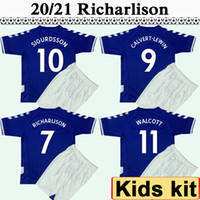 20 21 Enfants Kit Maillots de football WALCOTT SIGURDSSON Accueil bleu football shirt New RICHARLISON DIGNE manches courtes Uniformes enfants