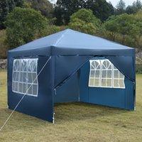 Picnic al aire libre fiesta sombra tienda azul toldos 3 x 3m dos puertas ventanas práctica impermeable a prueba de agua plegable