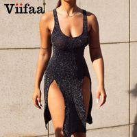Viifaa Bodycon Club Wear Sexy Split Mini Black Tank платья женщин Backless Criss Cross Назад блестками партии короткое платье