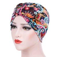 Этническая одежда Предмет Женщины Элегантный мягкий Дышащий Летний Женский Цветочный Печати Химический Рак BeanieMuslim Исламская тюрбана Cap Hijab Scarf