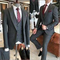 Grigio Nero Slim Fit 3 pezzi smoking degli uomini di nozze abiti sposo smoking terno masculino de pour hommes uomini (Jacket + Pants + vest)
