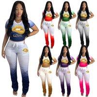 progettista donne a due pezzi abiti a pieghe gradiente 2 pezzo casuale stabilito di modo di estate delle donne più le donne dei vestiti vestito di sport L-4XL