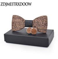 New Fashion Accessories Mantas Womens Mens bowknot Bowtie Impressão clássico madeira entalhada criativas laços gravata Wedding Set partido