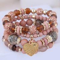 Kymyad (4pcs / set) Multilayer Bohemia Pulsera Resina Beads Pulseras para mujeres Bijoux Vintage Heart Charm Bracelet Femme Jewelry