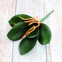 5 Pz vero tocco PU Phalaenopsis foglie di falsi piante a foglia decorazione Artificiale Domiciliare Vegetazione disposizione di fiori Cymbidium Foglie