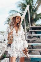 2020 heißen Verkauf Sommer-Frauen-Bikini-Vertuschung-Floral-Spitze-Höhle Crochet Badeanzug Vertuschungen Badeanzug Bademode Tunika Strand-Kleid