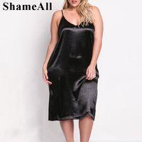 캐주얼 드레스 Shameall Plus 크기 민소매 깊은 V 목 새틴 슬립 섹시한 드레스 여성 파자마 중간 - 송아지 광택 저녁 파티 블랙