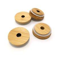 Bamboo Tumbers Covers Bottles Caps Wooden Circular Hollows Mason Jar Lid Sealing Strips Cups 7cm 8cm 3 8hx C2
