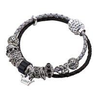 EH8105 esagerato braccialetto Corona zircone corda di cuoio intrecciato strisce stagione delle donne