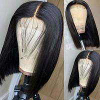 Isıya Dayanıklı Kısa Bob Tarzı Dantel Ön Peruk Siyah Kadınlar için Sentetik El Bağlanmış Ön Kopardı Doğal Saç Çizgisi 14 inç
