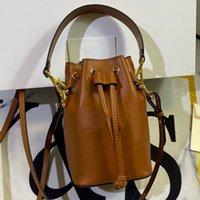 여성 핸드백 지갑 작은 버킷 가방 진짜 가죽 가방 패션 금속 로고 장식 일반 F 편지 이동식 어깨 스트랩 문자열 가방