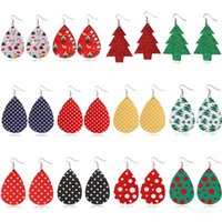 Christmas PU Earrings PU Teardrop Dangle Hook Earrings Color...