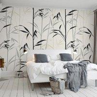 Photo faite sur commande murale 3D moderne Minimaliste huile peinte à la main peinture Art créatif Bambou Chambre Étude de vie Murales Fond d'écran Chambre