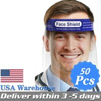 En Düşük Fiyat! ABD STOK Yüz kalkanı maske Anti-sis İzolasyon Tam Koruyucu Yüz kalkanlar% 99 HD Şeffaf PET Karşıtı Splash Toz yüz örtüsü