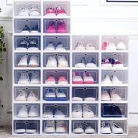 6 قطع فليب الأحذية مربع سميكة شفافة درج حالة صناديق الأحذية البلاستيكية تكويم مربع الأحذية المنظم الأحذية حذاء الحذاء