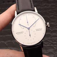 Business-automatische mechanische Bewegung Luxus-Uhren Lederband 316 Edelstahl Gehäuse Armbanduhr NOMOS LAMBDA Designer Herrenuhr