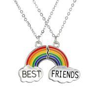 أزياء 2 قطعة المينا قوس قزح السحب قلادة أفضل صديق قلادة مجموعة مجوهرات جيد الصداقة هدية للأصدقاء Collares