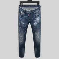 2020 High quality Mens jeans Distressed Motorcycle biker jea...