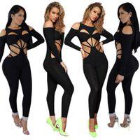 2020 New roupas baratas China atacado europeus e americanos Mulheres Jumpsuits macacãozinho Sexy bandagem escavado boate jumpsuit