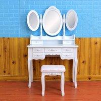 ハイエンドカスタム収納寝室の家具折りたたみ式3ミラー7引っ張りテーブルホワイトブティックレディースドレッシングテーブルアメリカストック