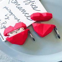 الحب الأحمر سيليكون بلوتوث لاسلكية سماعات واقية القضية لAirpods برو ضد الصدمات القضية لAirpods 1/2 مع هانغ الدائري
