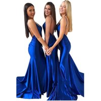 Robe de demoiselle de demoiselle d'honneur bleue royale bleue élégante robe élégante femme pour mariage usure robe pas cher Festa de Casamamento