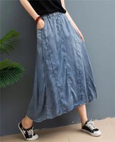 Vintage denim cotton skirt casual loose elastic waist skirt ...