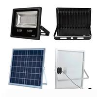 4 채널 RGB 50W 태양 광 LED 투광 조명 18W 태양 전지 패널 원격 제어 방수 야외 정원 홍수 빛 램프