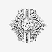 Женщины Топ мода Обручальное кольцо набор CZ Diamond Princess Ringbone кольцо с оригинальной коробкой для Pandora Real Sterling Silver Обручальные кольца