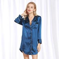 Женская сексуальная атласная пижама дамы пижамы Женщины дамы Mujer Твердая Ночное длинными рукавами Soft Tops ночной рубашке
