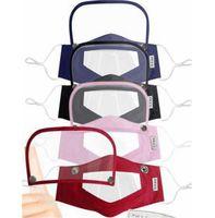 4 estilo 2 en 1 para ojos y rostro Escudo de labios máscara transparente PET boca cubierta anti-vaho Claro Máscara sordomudo Máscaras Máscaras de diseño visible GGA3585