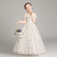 Spettacolo Abiti da vacanza / bella festa d'Avorio Stella Tulle cinghie pavimento Flower Girl Dresses delle ragazze / compleanno Dress formato personalizzato 2-14 DF721564