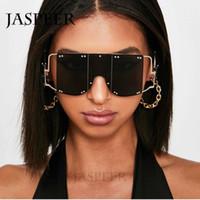 2019 Yeni Kare Perçin Trend Büyük Boy Güneş gözlüğü Erkekler Kadınlar Marka Tasarım Metal Büyük Çerçeve Vintage Siyah Pembe Kırmızı Ayna Gözlük