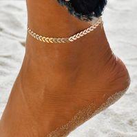 Frauen einfach Punkgoldsilber-Kette flachen Schlange Fußkettchen Knöchel-Armband Barfuß Sandale Strand Fuß Schmuck GD468