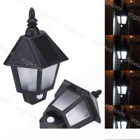 Solar Security Lights Motion Sensor Half Wall Hexagonal Lamp 3Leds Warm White WaterProof For Outdoor Resistant Garage Hotel DHL