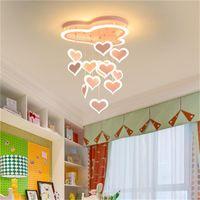 Dormitorio ceilinglights iluminación sencilla lámpara moderna en forma de corazón creativo de la lámpara LED de techo colgante chica habitación de los niños neta muchacha roja