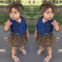 3PC bambino Infantil neonate Dress Fashion Denim camicia del leopardo del pannello esterno fascia Kids Clothes set Outfits M156