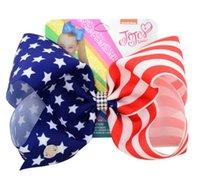 12PCS / LOT SICAK Cheer Bow Yıldızlar ve Çizgiler çip elastik bant kız Saç Aksesuarları yay TEMMUZ 7inch Amerikan Bayrağı JOJO SWIA saç SATIŞI 4TH