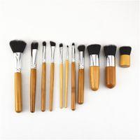 Make-up Pinsel Hohe Qualität Gartenanzug Natürliche Karbonisierte Bambus Kosmetische Griffbürsten Set Log Hölzerne Farbsäcke aus Leinen 12 5xy B