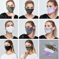 Lantejoulas Cotton Cara da forma Mask reutilizável lavável com a orelha Loops Blush pode usar almofada de filtro Máscaras Lantejoula faísca cara LJJK2425