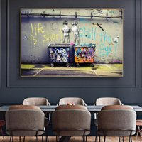 Abstract Street Graffiti Wall Art Toile Affiche de peinture et d'impression « La vie est courte Réfrigérer Duck Out » Pictures Home Décor
