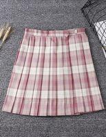 Nuovo stile in magazzino abito da casa abbigliamento a plaid gonne a vita alta a vita una linea pieghettata Gonna Nuovo Dress Girl High School Mini JK04