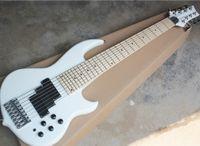 8 corde chitarra bianca fabbrica all'ingrosso neck-thru-body ibrido basso elettrico con due canne traliccio 24 tasti