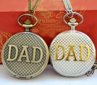 DAD الجيب ووتش الآباء يوم عيد الميلاد أفضل هدية فوب قلادة ساعة بابا أنا أحبك إلى الأبد الساعات الشظية الذهب برونزية حالة فليب ريلوخ