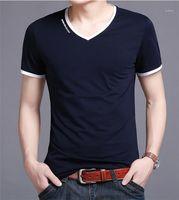 Мужчины Designer Tops вскользь Удобная мужская одежда Полосатый V шеи Mens Tshirts Solid Color дышащий