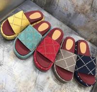 2020 otoño y el invierno diseñador nueva zapatillas de lujo vestido de las señoras sandalias de plataforma al aire libre de la lona zapatillas de cuero reales de la moda de color amarillo negro