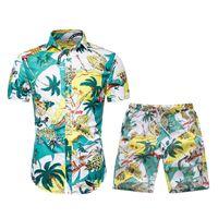 해변 여행에서 Colorfull 캐주얼 하와이 의류 반바지 수영복을위한 여름 남성 운동복 꽃 인쇄이 PIEC 설정 셔츠 휴일 수영복 인쇄하기